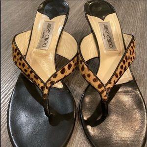 Jimmy Choo Cheetah Print Kitten Heel Sandals 41